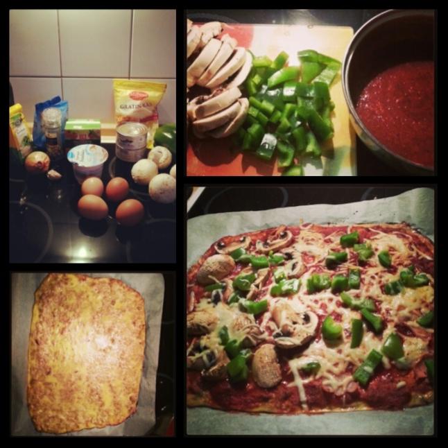 LowCarb Pizza mit Thunfisch und Champignons